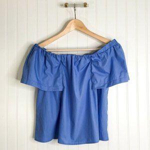 Topshop Womens Blouse Blue Short Sleeve Off Should